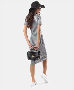 Short Sleeve Dress - Black-White