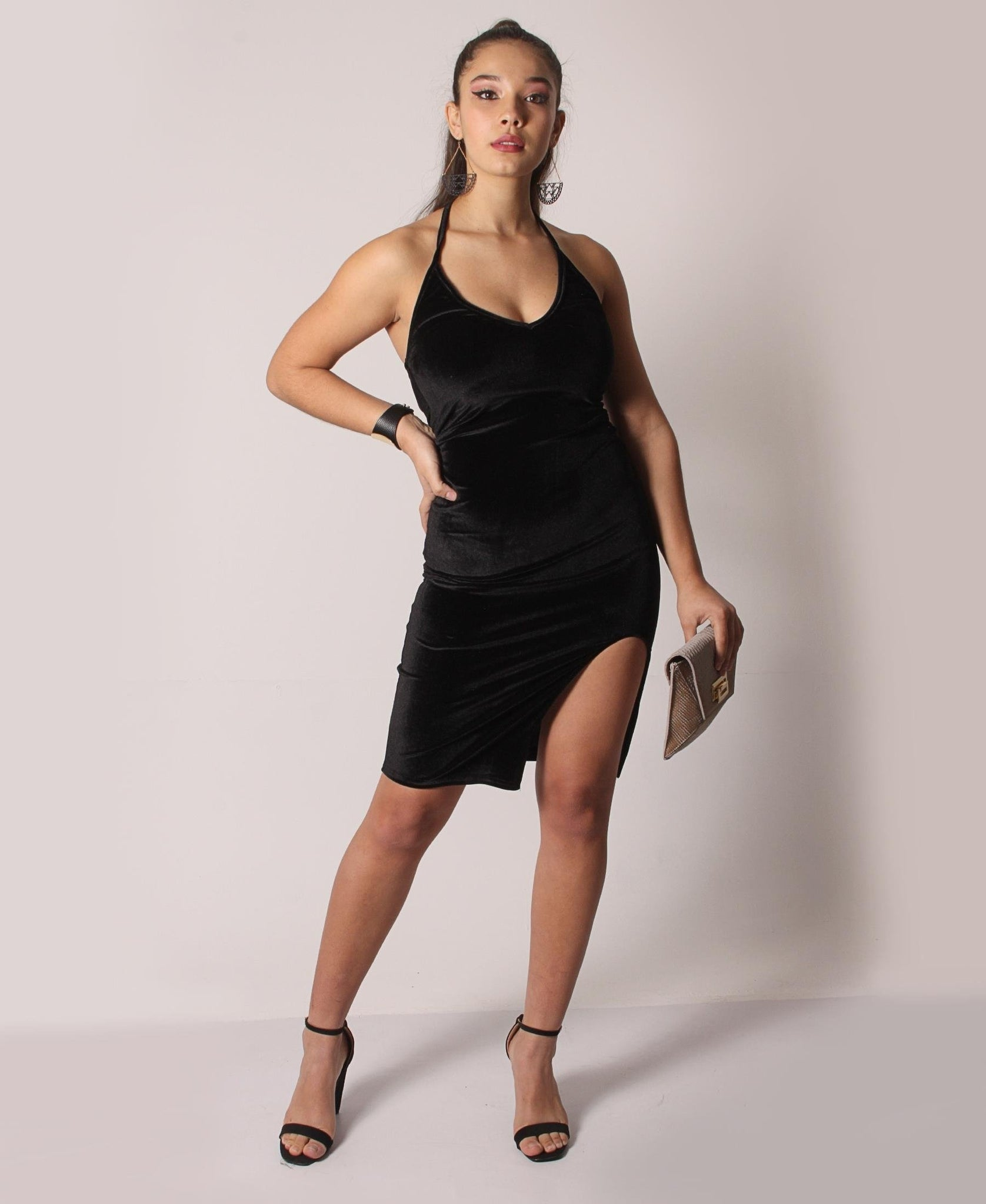 Backless Velour Dress - Black