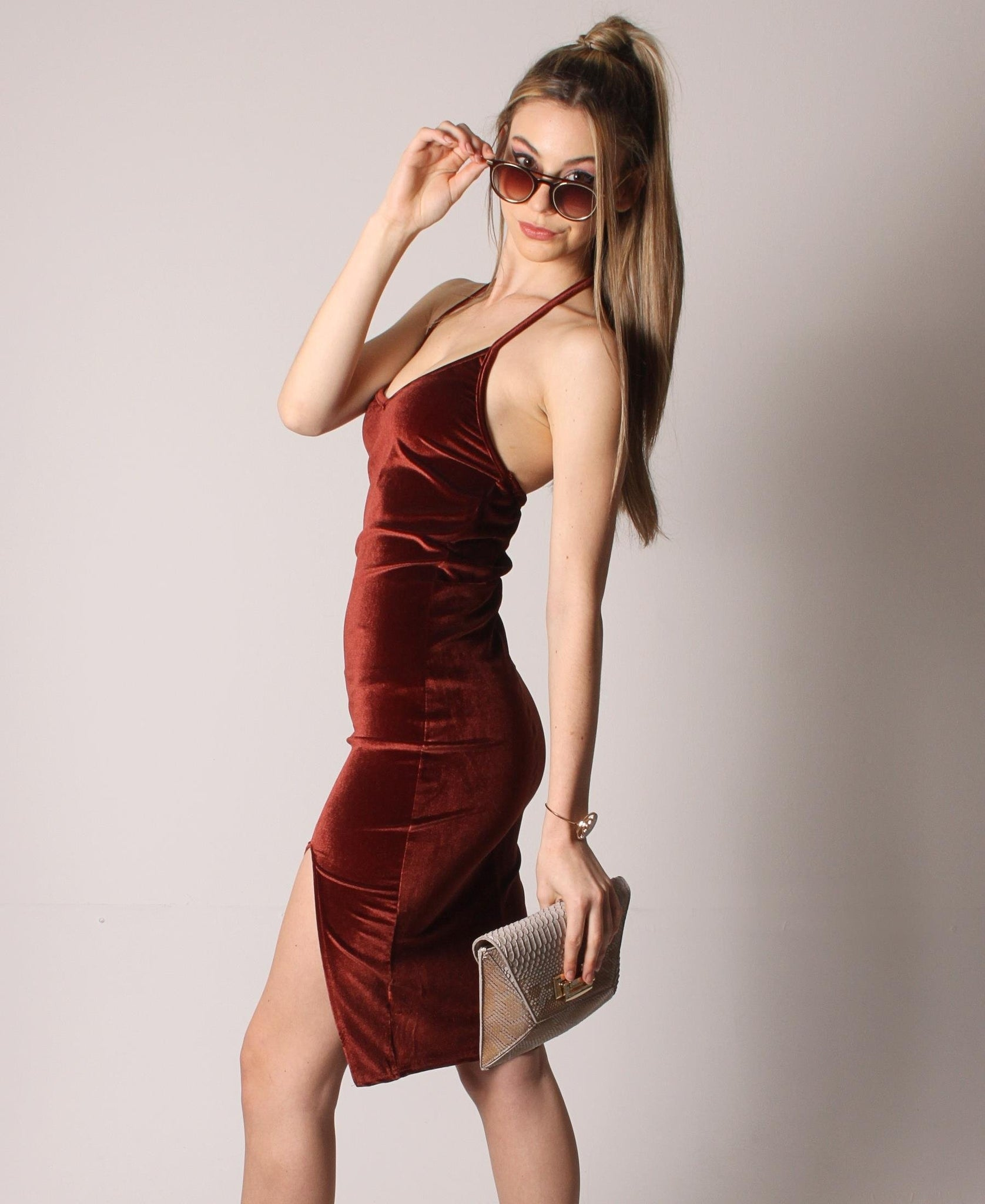 Backless Velour Dress - Rust