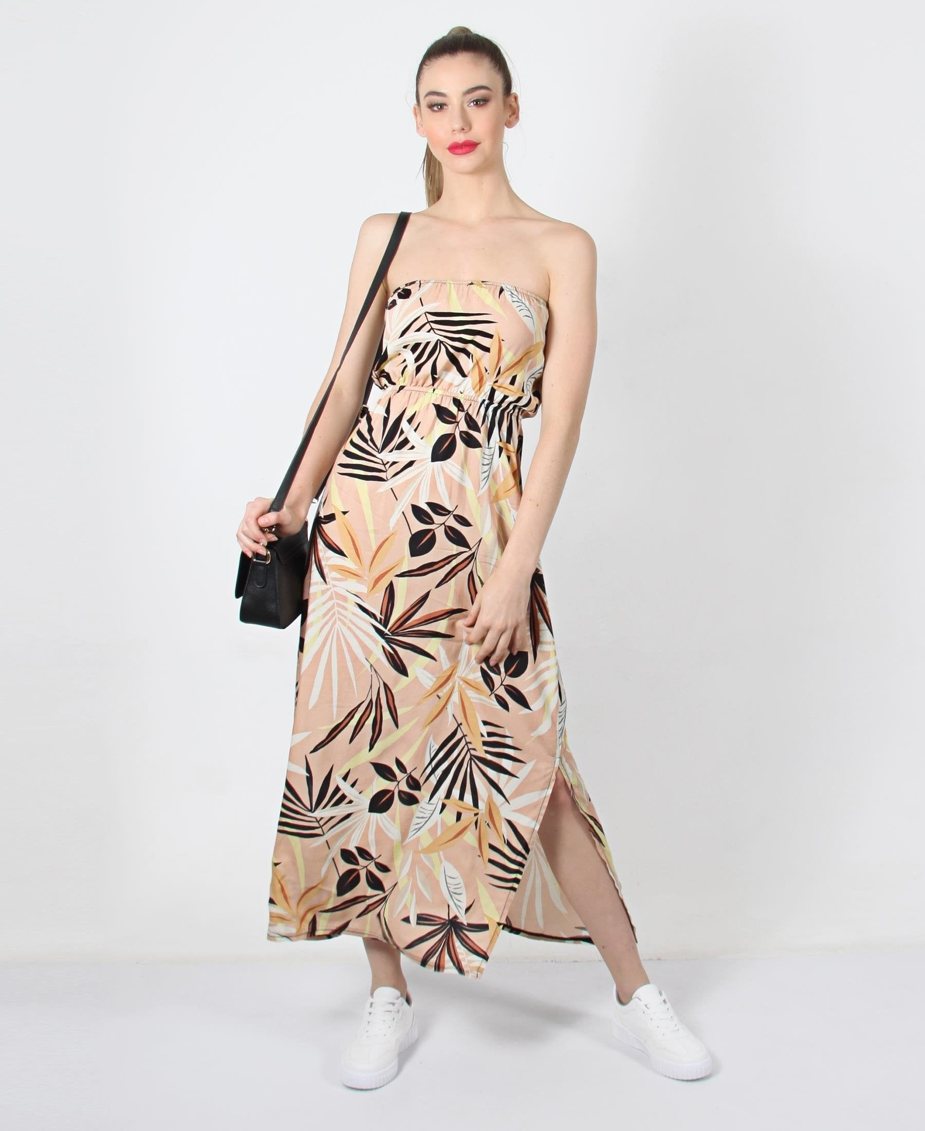 Ladies Beige Printed Boobtube Side Slit Dress - Dresses
