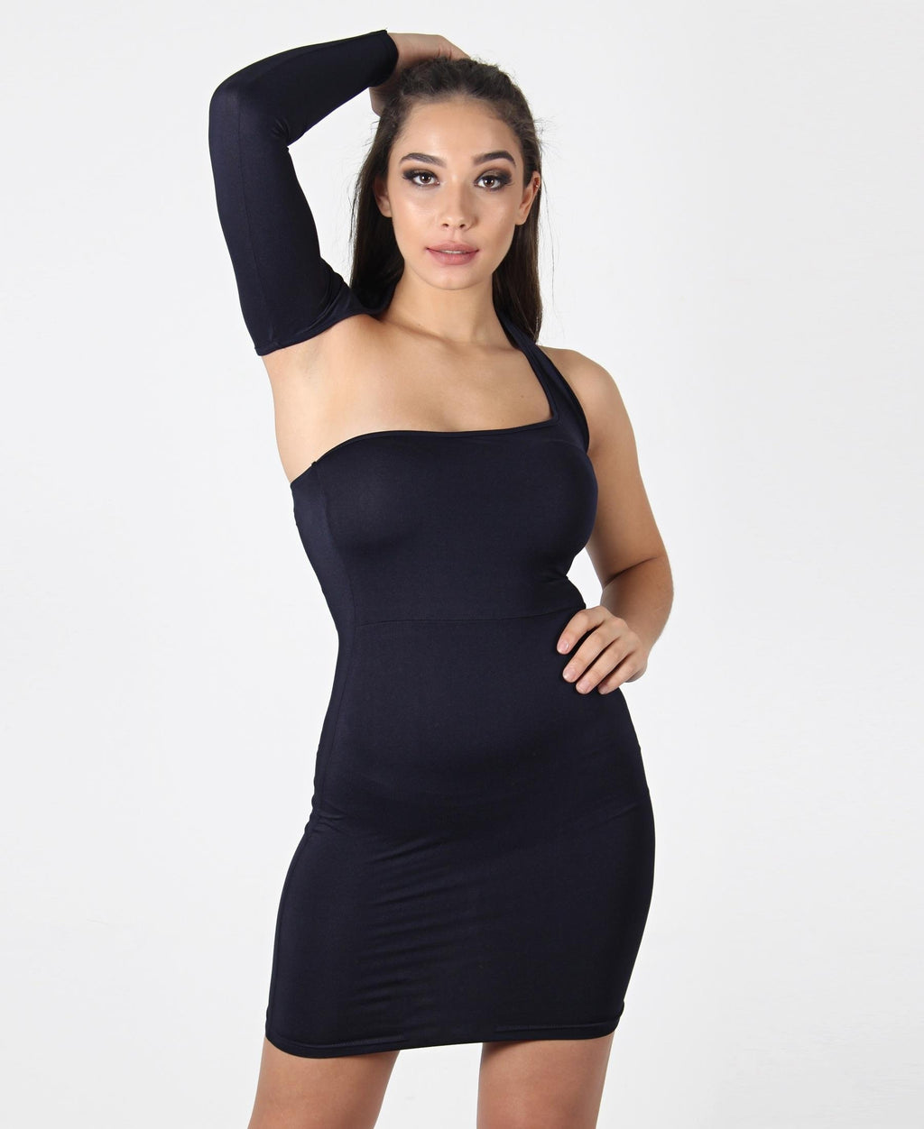 One Shoulder Bodycon Dress - Navy