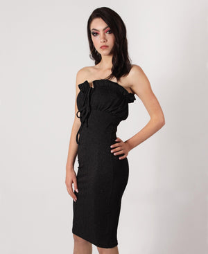 Ruched Boobtube Dress - Black