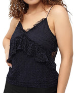 Lace Strappy Top - Navy