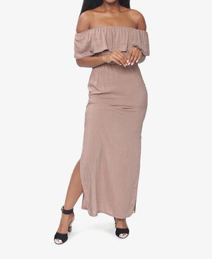 a62f113106eb Off Shoulder Maxi Dress - Camel – Planet54