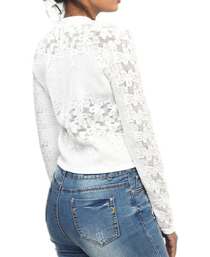 Long Sleeve Lace Top - White