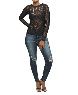 Long Sleeve Lace Top - Black