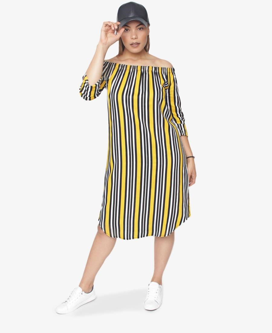 Off Shoulder Dress - Yellow