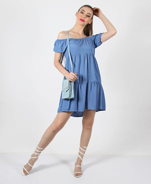 Ladies Blue Off Shoulder Tiered Dress - Dresses