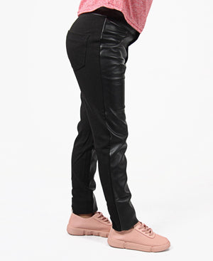 Girls Pleather Skinny Pants - Black