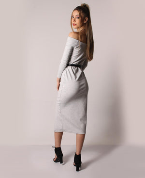 Off Shoulder Spandex Knit Dress - Grey