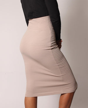 Front Zip Pencil Skirt - Beige