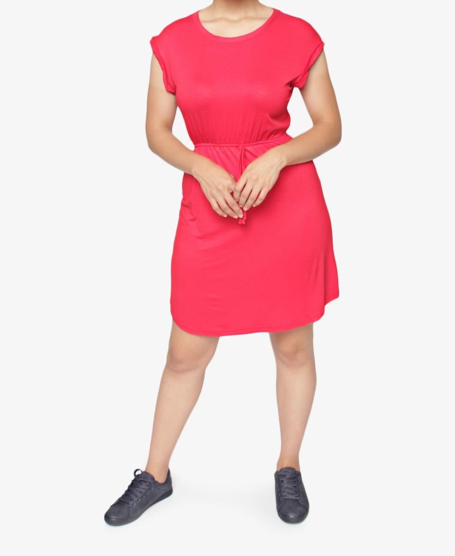 Drawstring Dress - Red