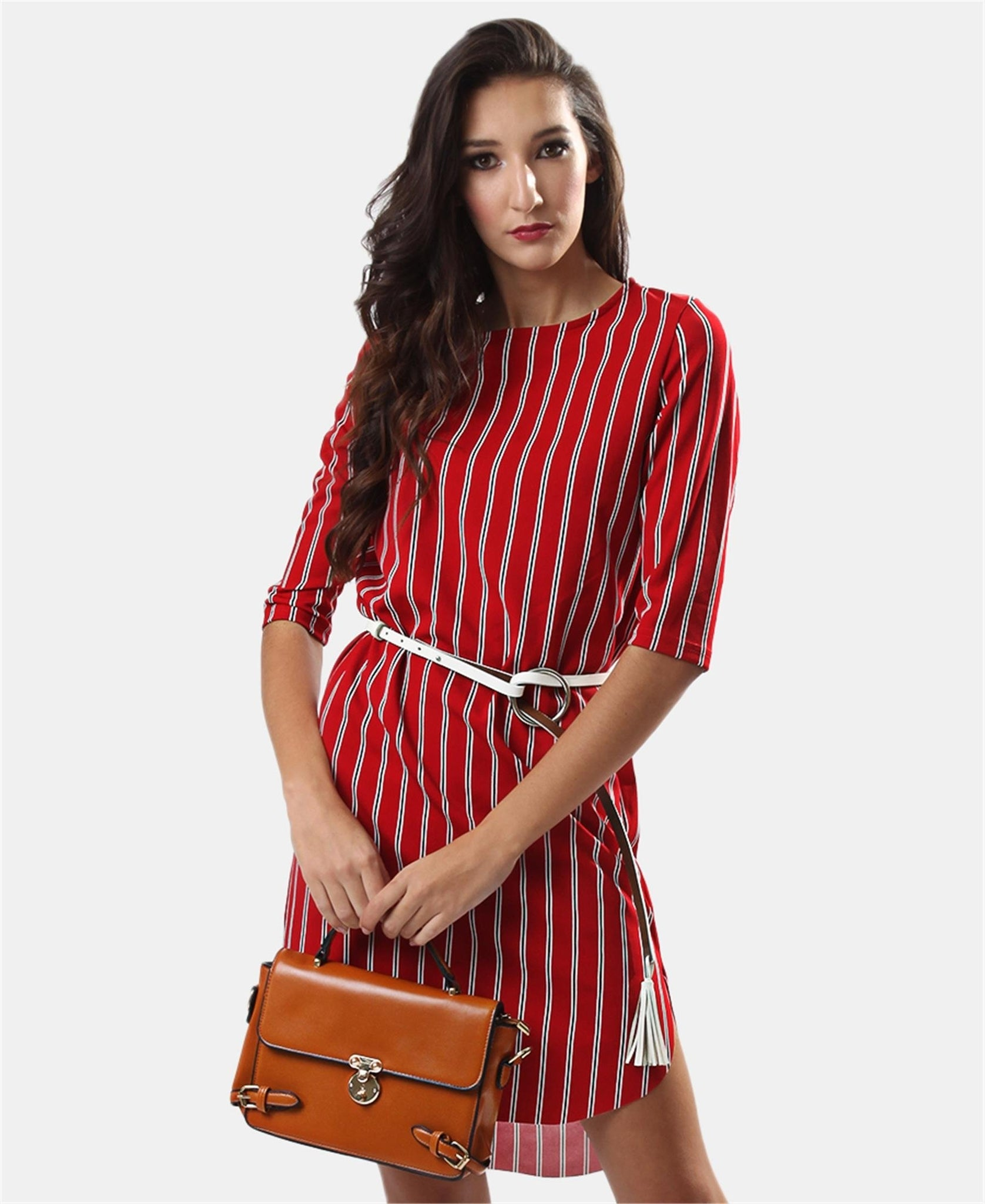 3/4 Sleeve Dress - Red