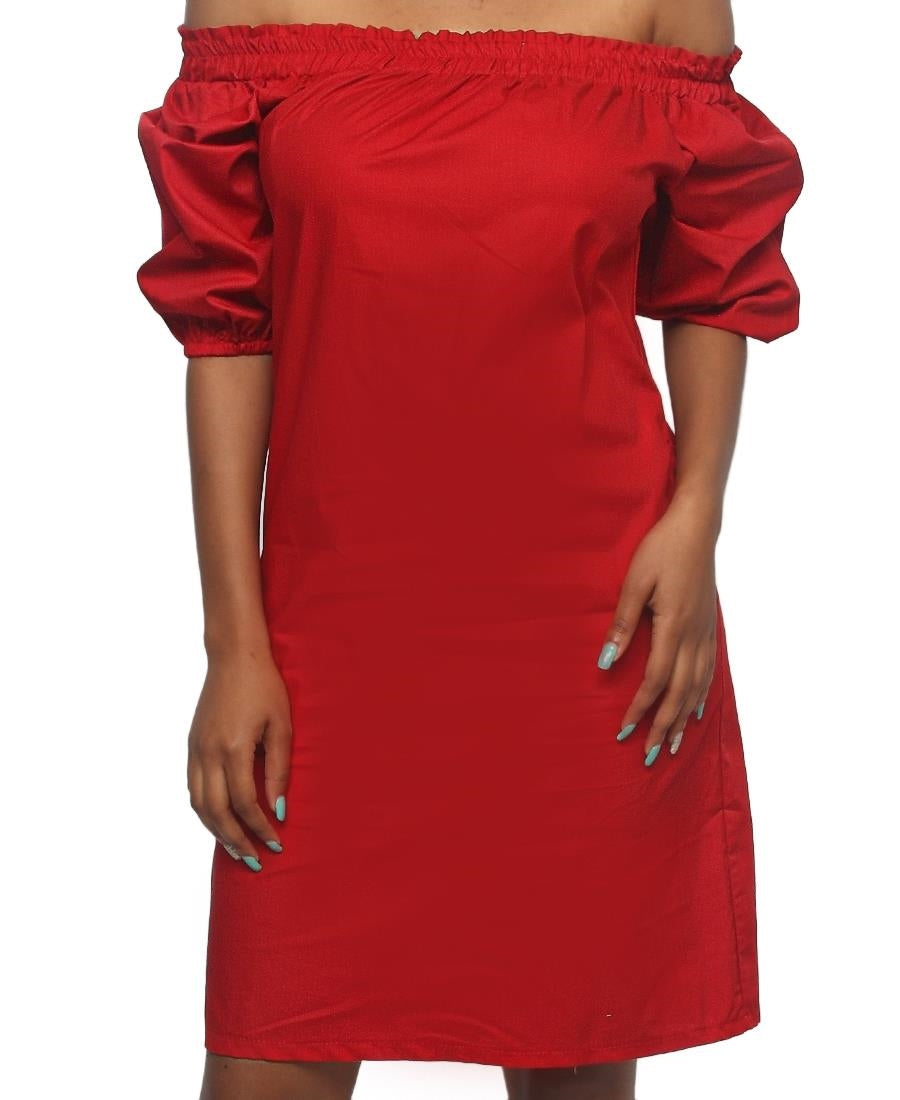 Off Shoulder Casual Dress - Red