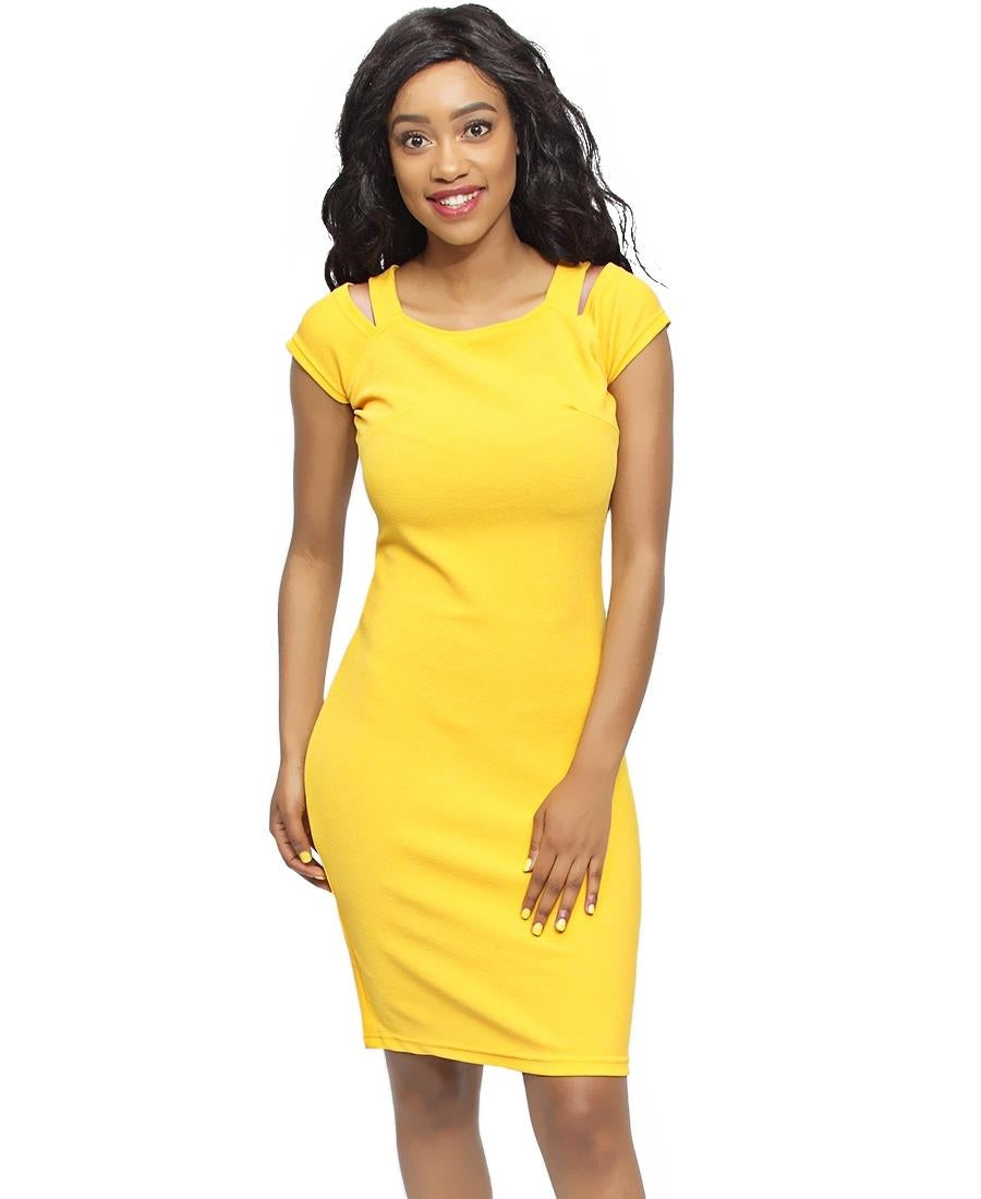 Cold Shoulder Dress - Mustard