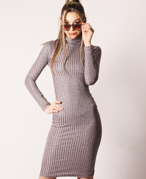 Rib Bodycon Dress - Mink