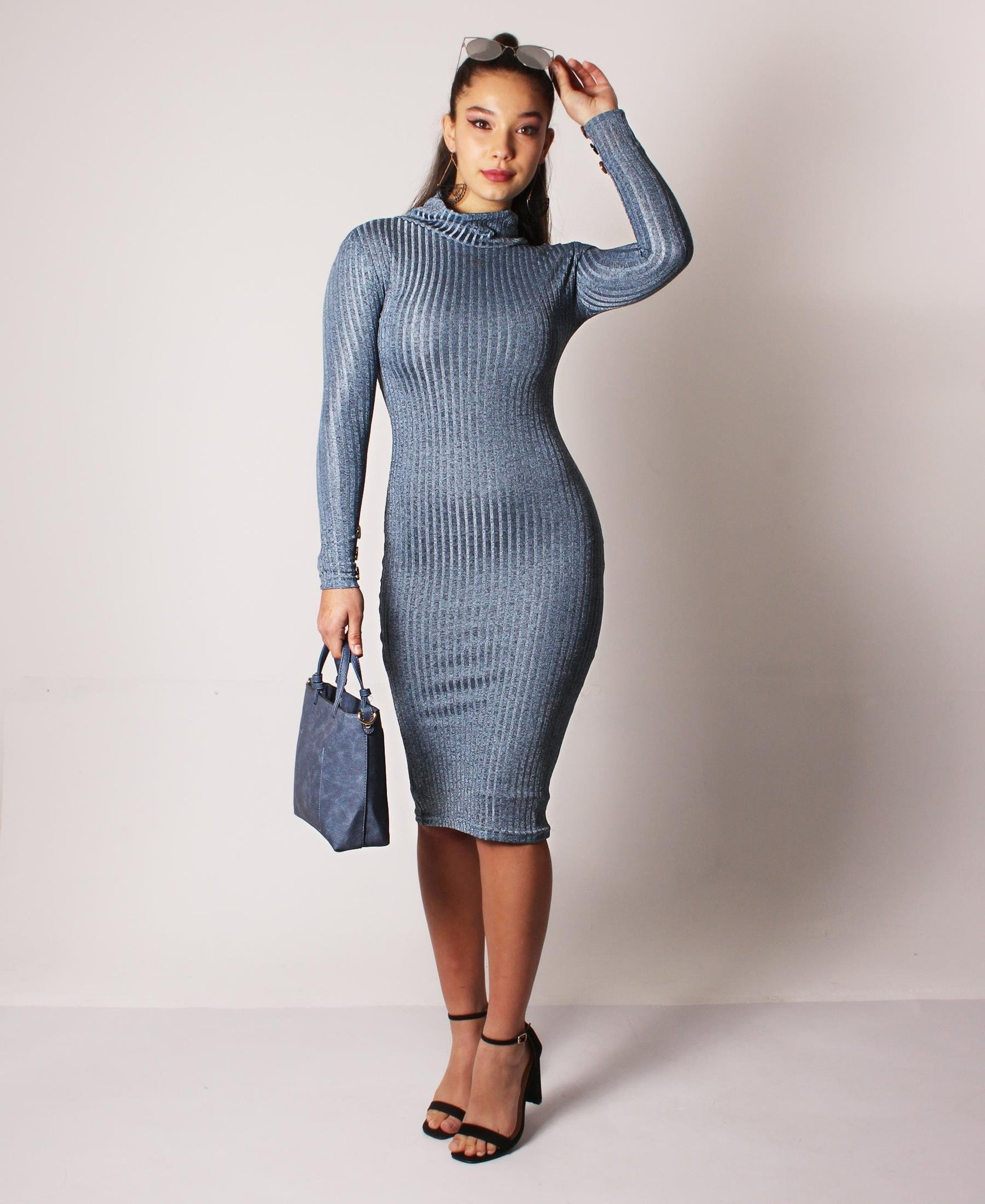 Rib Bodycon Dress - Blue