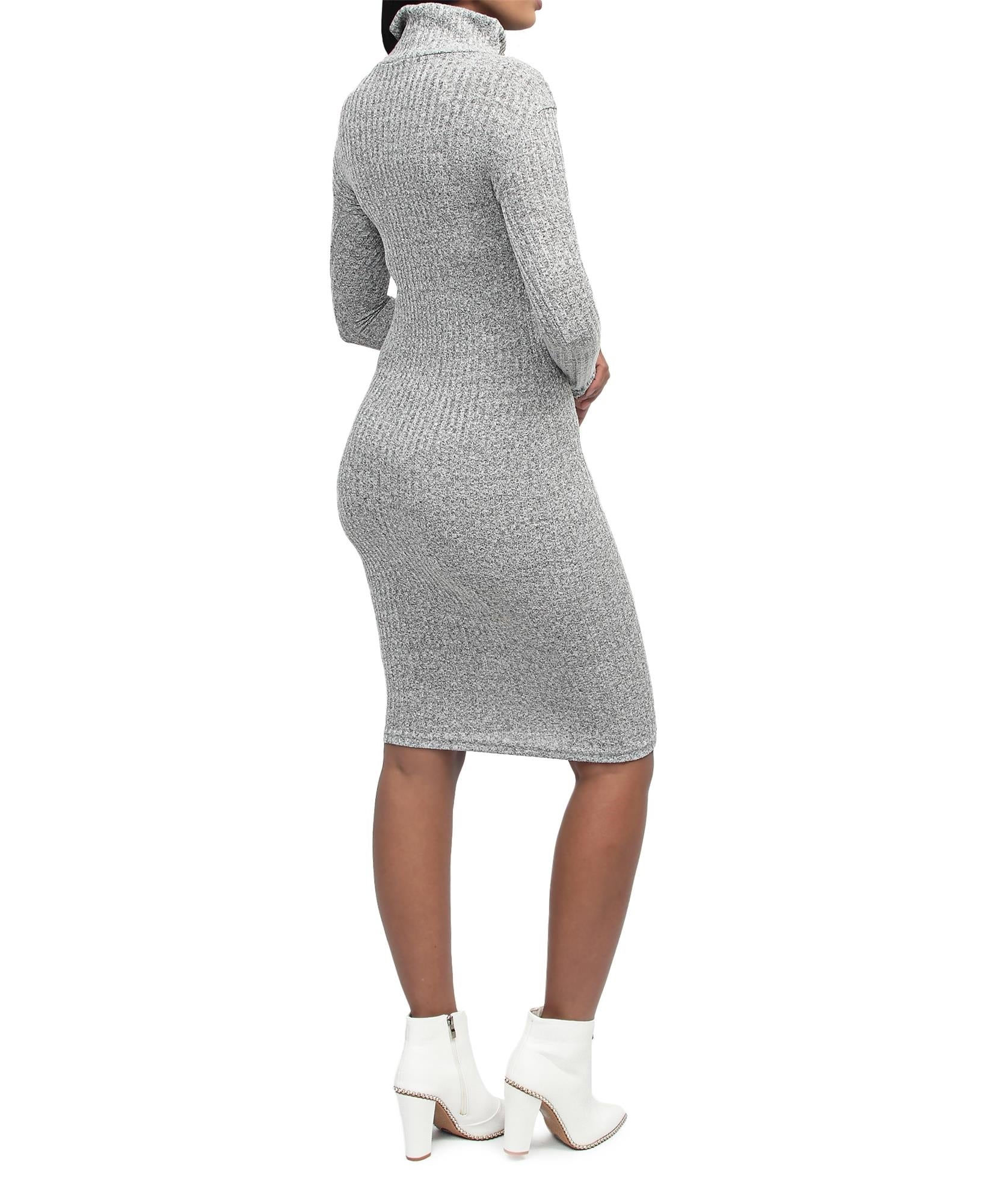 Rib Bodycon Dress - Grey