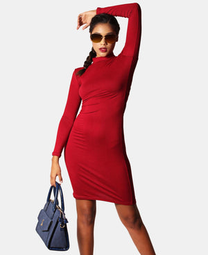 Long Sleeve Bodycon Dress - Burgundy