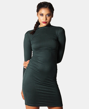 Long Sleeve Bodycon Dress - Green