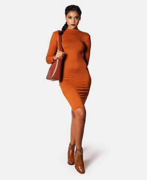 Long Sleeve Bodycon Dress - Rust