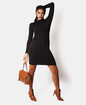 Long Sleeve Bodycon Dress - Black