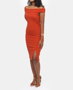 Off Shoulder Dress - Orange