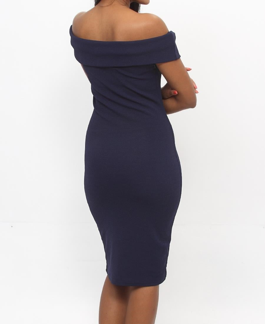 Off Shoulder Dress - Navy