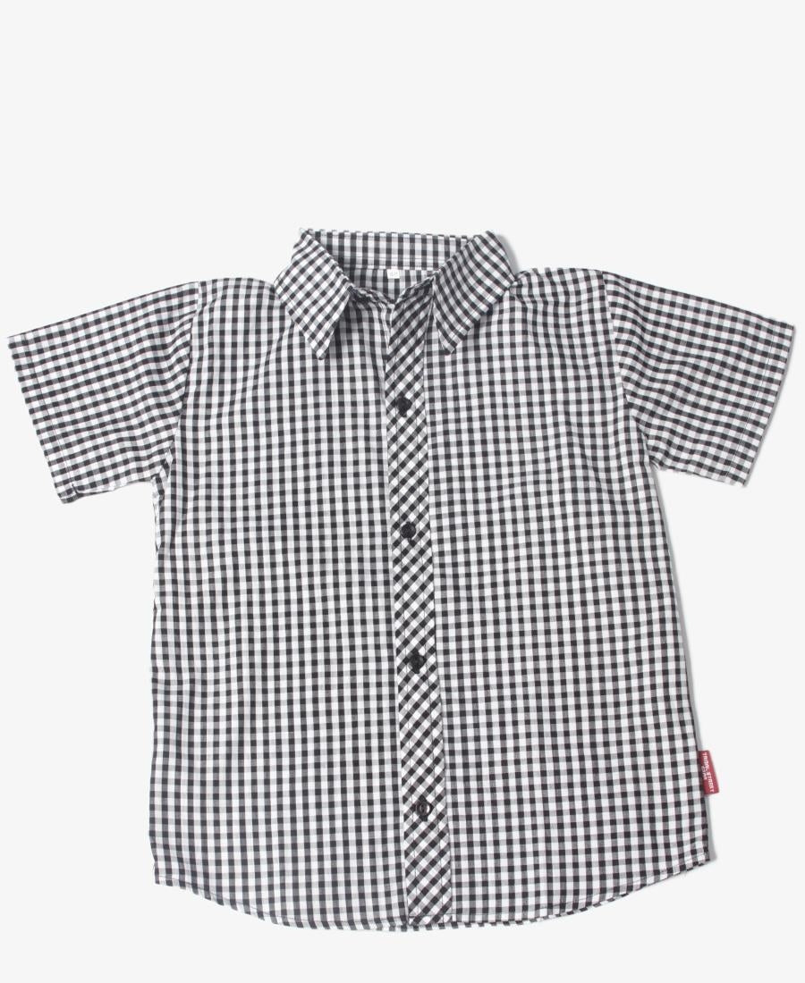 Boys Check Shirt - Black
