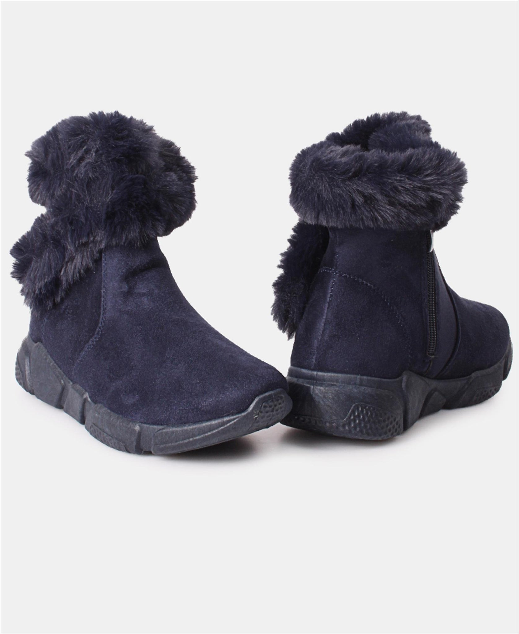 Ladies' Fur Boots - Navy