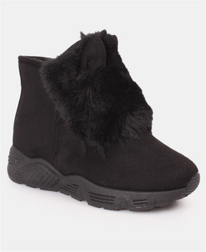 Ladies' Fur Suede Boots - Black