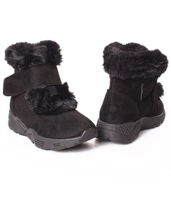 Velcro Strap Ankle Boots - Black
