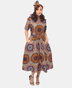 2 Piece Ethnic Dress And Doek - Orange