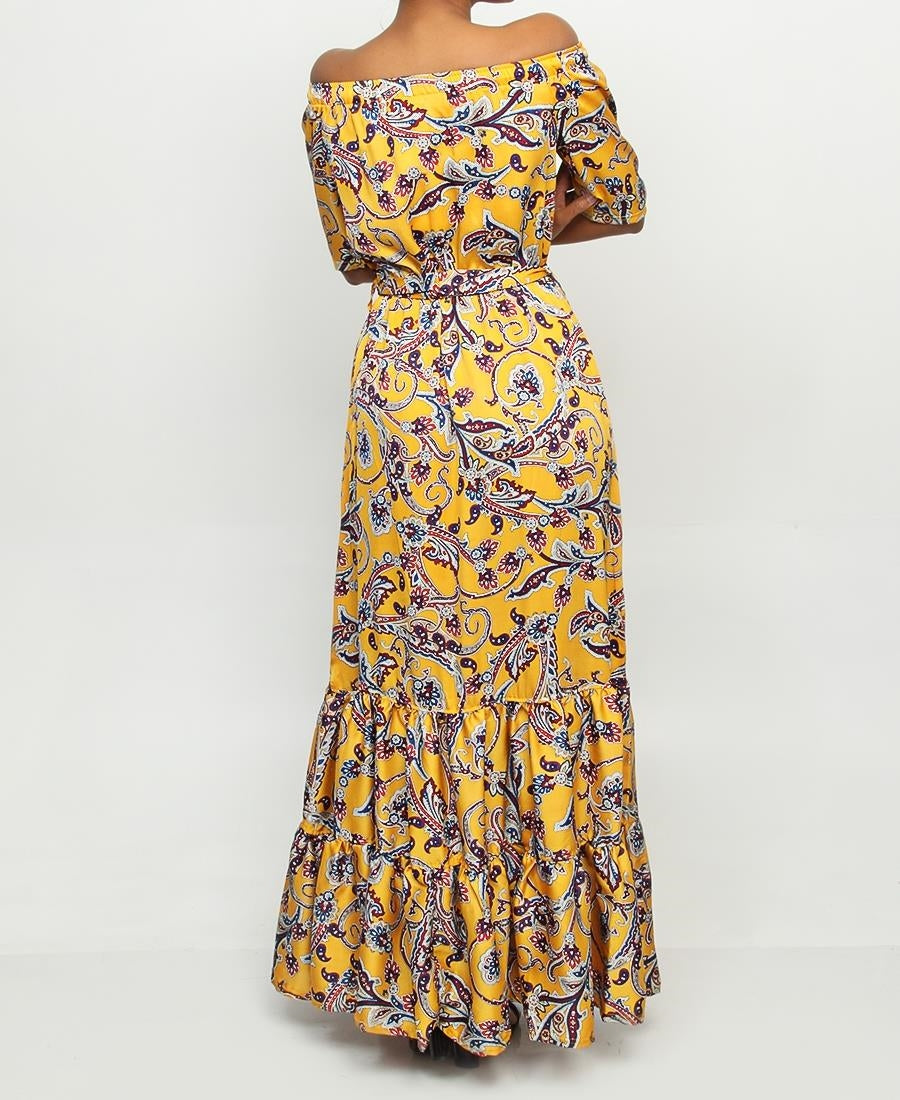 Off Shoulder Maxi Dress - Mustard