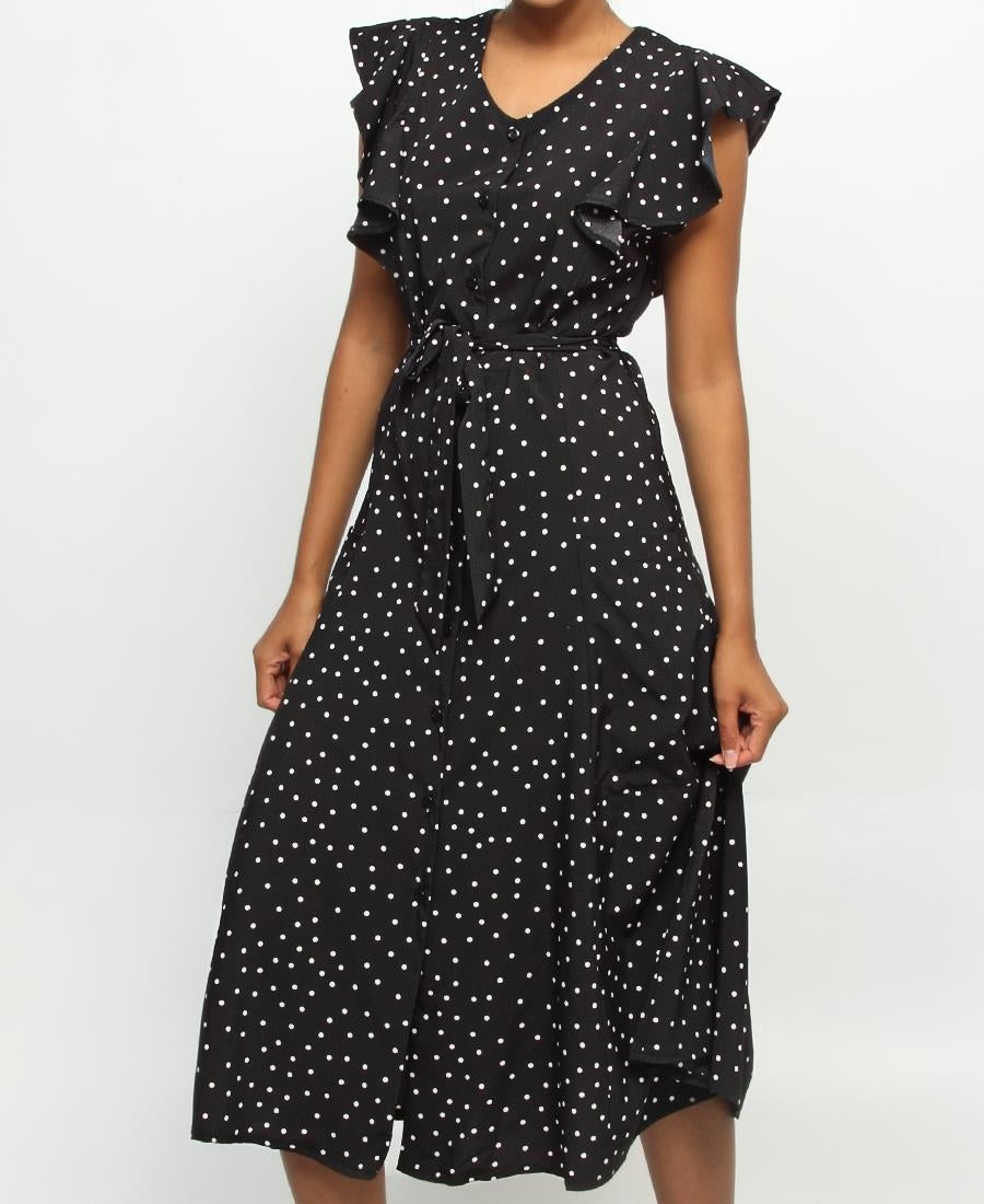 Maxi Dress - Black-White