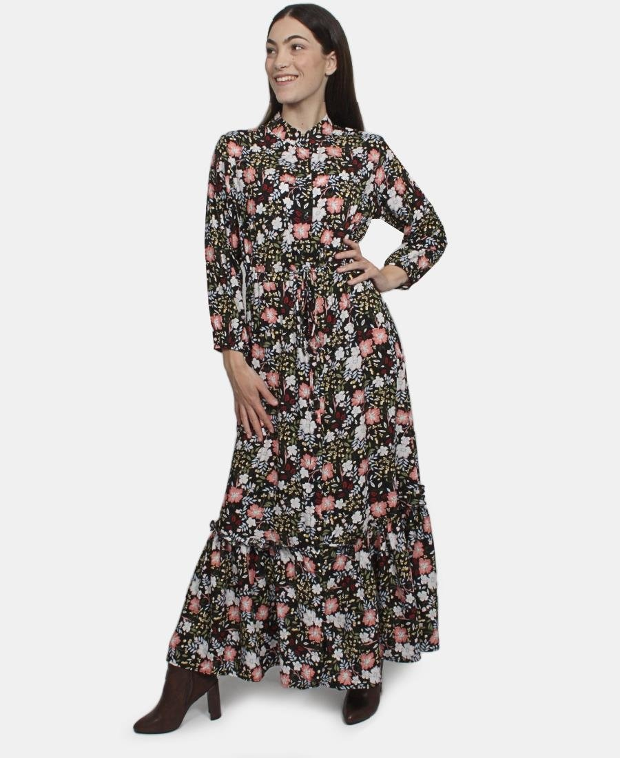 Ray pop Long sleeve dress - Black Floral