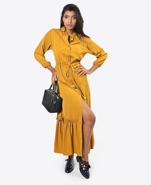 Ladies' Button Dress - Gold
