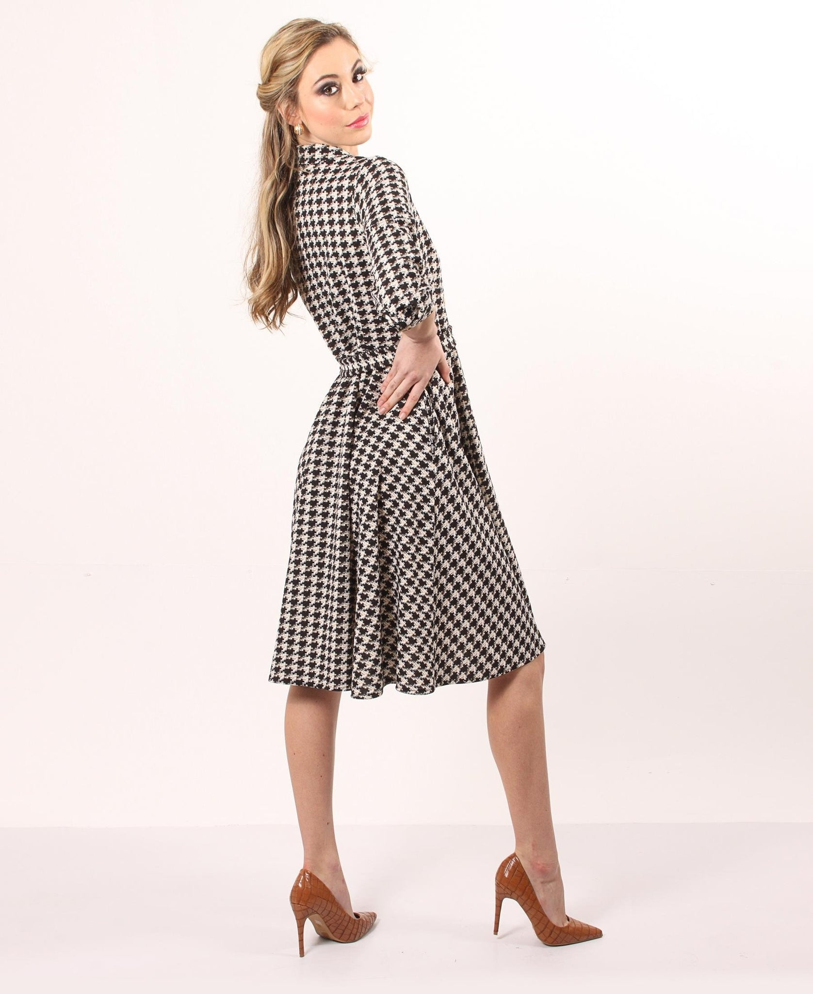 Houndstooth Flare Dress - Black