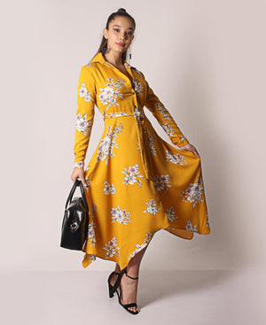 Asymmetrical Floral Belted Dress - Mustard