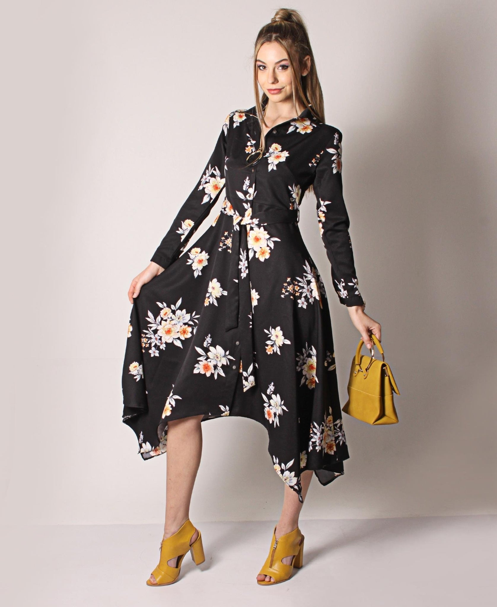Asymmetrical Floral Belted Dress - Black