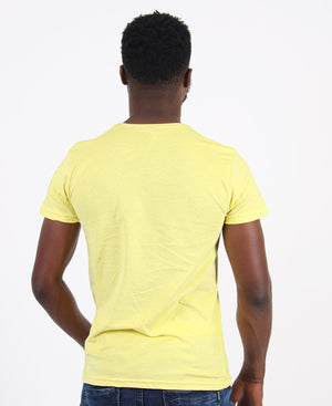 Crew Neck Graphic T-Shirt - Yellow