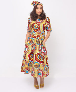 2 Piece Ethnic Dress And Doek - Yellow