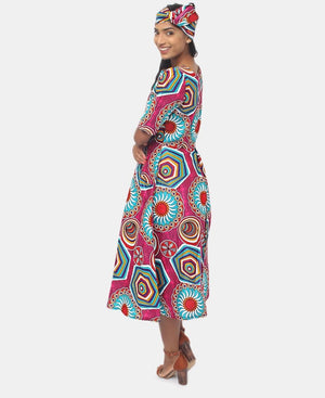 2 Piece Ethnic Dress And Doek - Teal