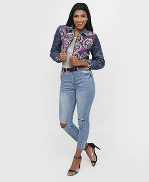 Ethnic And Denim Bomber Jacket - Purple