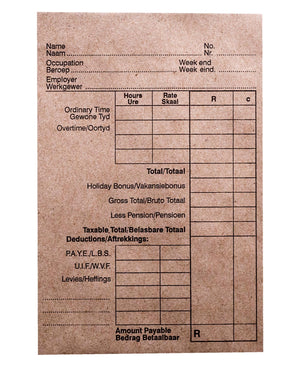 Marlin 50 Pack 152MMx102MM Printed Wage Envelopes - Brown