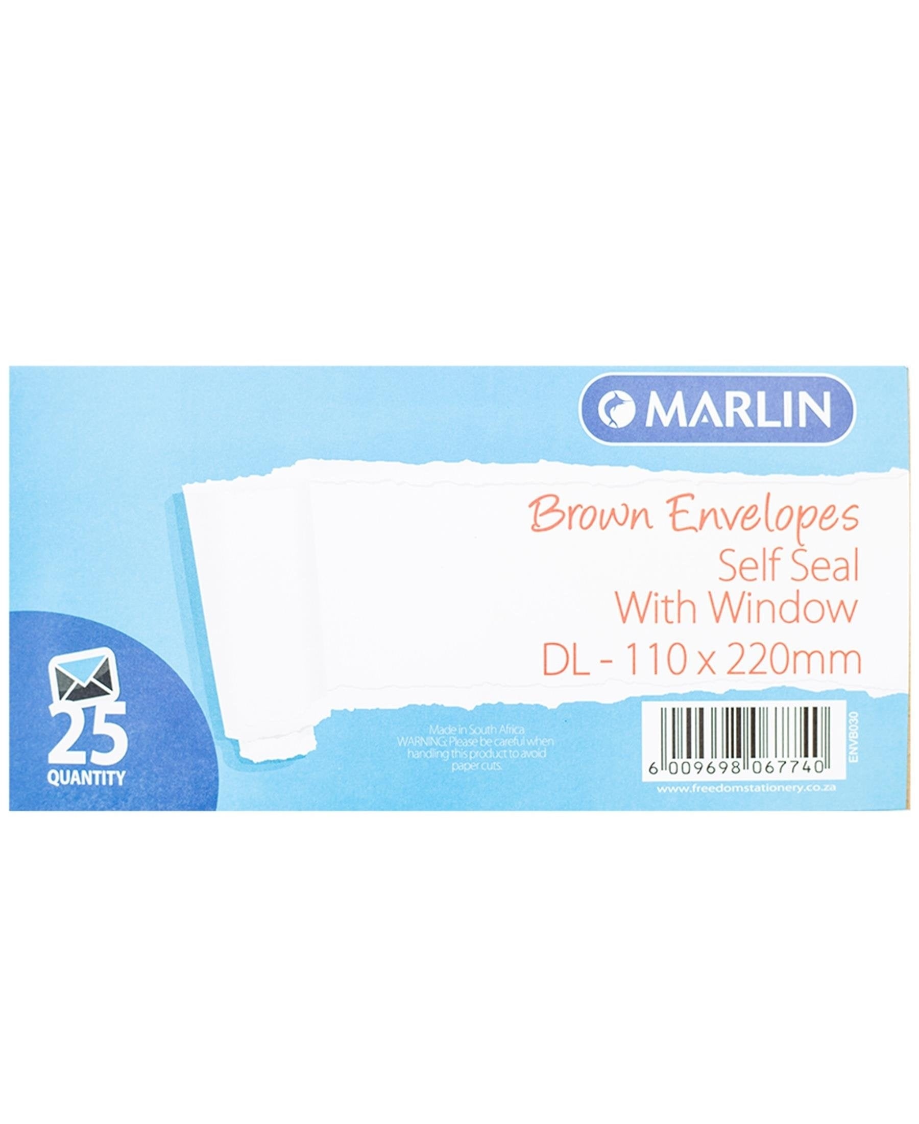Marlin 25 Pack DL Self Seal Envelopes - Brown