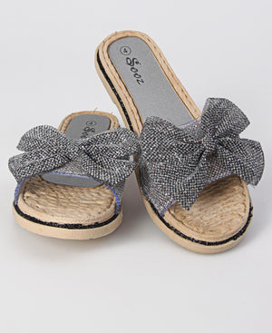 Front Strap Glitter Bow Sandals - Black