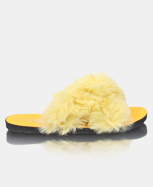 Fur Sandals - Yellow