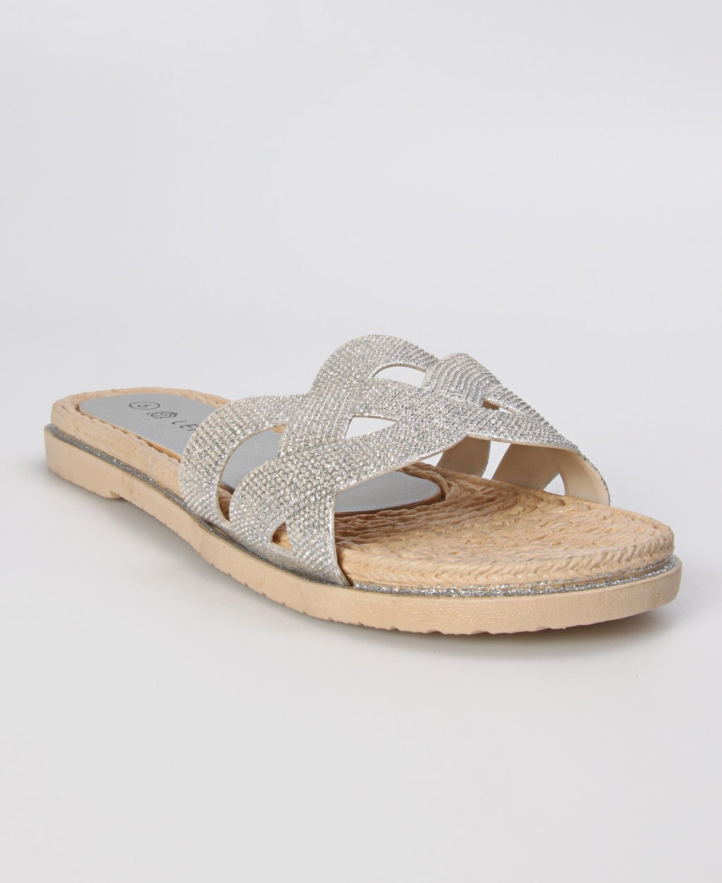 Slip On Flat Sandals - Silver