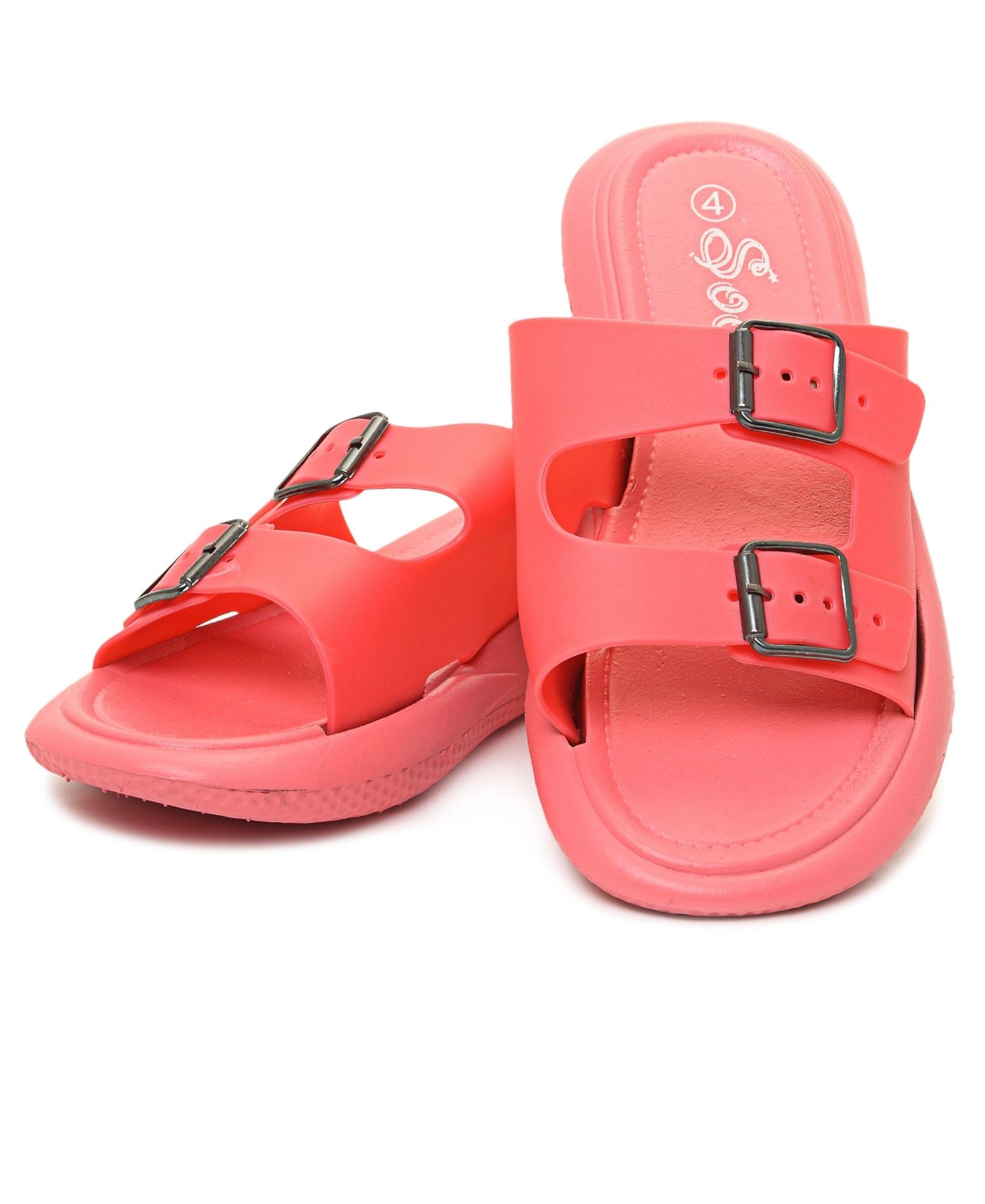 Double Buckle Sandals - Coral